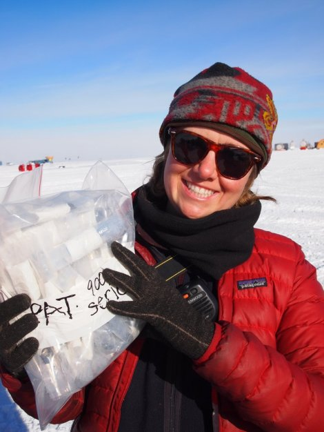 Tamra displays the bag o' little space rocks