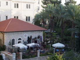 view of the terrace garden at the American Colony Hotel