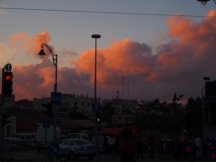 Urban dusk-scape on Yafo Street