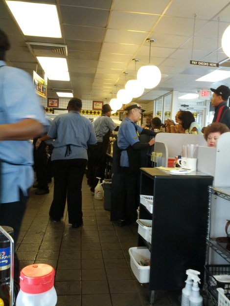 At the counter of the Waffle House