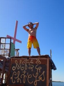 Jumping pirate aloft
