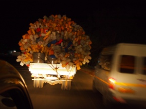truck laden with bottles