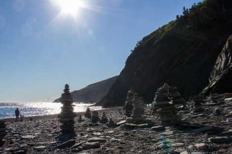Cairns along the beach at Meat Cove